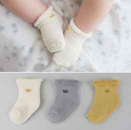 Wholesale Toddler Terry Socks - Cute Kids Crown Socks Baby Boys Girls Cotton Infant Terry Toddler Socks Winter Warm Thick Foot Warmers Socks 10887
