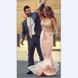 Wholesale Elegant Dressess - Prom Dressess 2016 Mermaid Foraml Vestidos Pink Red Black Pearls Bodice Custom Made Blush Elegant Arabic Prom Dresses