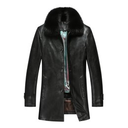 Wholesale Men Winter Jacket Fox - Fall-Winter Men Clothing Brand Nick Coat Leather Jacket Outdoor Casual Liner Detachable Fox collar Leather & PU Solid Color Nick Coat
