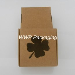 Wholesale Ups Apparel - Kraft Paper 7.5*7.5*3cm 50Pcs  Lot Boxes With Four Leaf Clover Window Brown Aircraft Box Pack Crafts Soaps Little Make-Up Cream