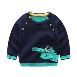 Wholesale crocodile children - Boys Crocodile Sweaters Pullover Double Breasted Knitted Sweater Spring Autumn Long Sleeved Boys Children Casual Kids Clothing 3-7T