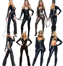 Wholesale Ladies Cat Girl Costumes - 2015 sale Halloween sexy ladies wild cat Siamese cat girl bronzing long-sleeved tight-piece leather bar pole dance clothing