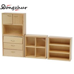 Wholesale Wood Living Room Cabinets - Wholesale- Dongzhur Dollhouse Miniatures 1:12 Model House DIY Cabin Living Room Accessories Mini Furniture Wood Color Combination Cabinet