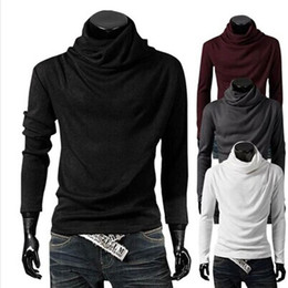 Wholesale Nice Sleeves - hot New Fashion Men's Heaps Collar Long Sleeve T-Shirts Polos Men's Clothing nice gift free shipping