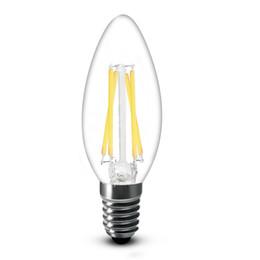 Wholesale e14 led super bright - Super Bright 2W 4W 200LM 450LM Led Filament Candle Bulbs Light 360 Angle White 6000K Warm White 2700K E14 C35 Led Lights Lamp 110-240V