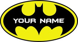 Wholesale Wall Stickers Batman - Personalised BATMAN LOGO Decal Removable WALL STICKER Home Decor Art YOUR NAME