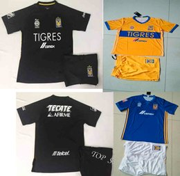 Wholesale Sports Jersey Kits - 17 18 Tigres UANL Home Yellow Soccer Kits Men's Thai Quality Football Sets Tigers Away Black Soccer Jerseys Adult's Sports Training Suits
