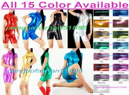 Wholesale Metallic Lycra Body - Sexy Body Suit Front Long Zipper New 15 Color Shiny Lycra Metallic Short Suit Catsuit Costumes Unisex Bodysuit Halloween Cosplay Suit P114