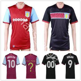 Wholesale Villas Jersey - 2017 2018 Aston Villa Soccer Jersey 9 Hogan 7 Bacuna 8 Lansbury 10 Grealish 11 Agbonlahor 26 Terry Amavi Senderos Custom Football Shirt