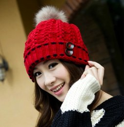 0df8d873 Newly Arrival Womens Winter Warm Caps Fashion Knitting Wool Pom Pom Hats  Crochet Buttons Beanie Ladies Chirstmas Perfect Gifts K837