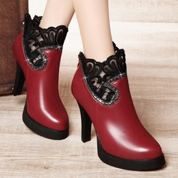Wholesale Roman Lace Dress - Elegant Embroidery High heel Platform Women's Ankle boots Sexy High heel Rhinestones Round toe Dress shoes with zip in 34-39