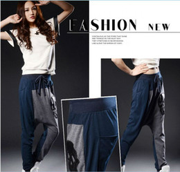 Wholesale Harem Leather - Free shipping fashion Harem pants for women unique design loose patchwork leather Skull baggy Street Dance Casual trousers