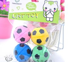 Wholesale Football Pets - Free shipping pet cat sponge balls footballs four colors for small cat 40pcs  lot