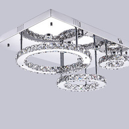 Wholesale Pendant Light Modern Small - Fashion LED 3 ring Big ring: 30 cm central: 20 cm small ring: 10 cm Pendant Lights Crystal Modern Contemporary Bedroom Dining Room Crystal