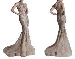 Wholesale Womens Celebrity Formal Dresses - Emmani Elegant Halter High Neck 3D-Floral Applique Long Train Mermaid Womens Formal Evening Dresses Celebrity Dresses Tulle High Quality