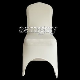 Wholesale Nylons Spandex Chair Covers - free shipping Universal White Wedding Banquet Folding Polyester Spandex Hotel Quality Chair Covers with 4 Pockets 100pcs