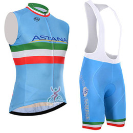 Wholesale Mens Cream Suits - New 2017 astana cycling sleeveless jersey bike shorts set Ropa Ciclismo quick dry pro cycling wear mens bicycle Maillot Culotte suit C0805