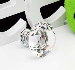 Atacado New 20 pçs / lote 30mm Forma de Diamante seis cores de Cristal De Vidro Do Armário Lidar Com Gaveta Do Armário Knob Pull de Fornecedores de botões baratos