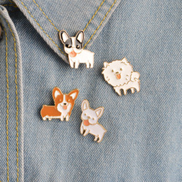 Wholesale Wholesale Tins For Dogs - Poodle Pomeranian Corgi Bulldogs Dog Brooches Hard Enamel Pin Lapel Pin Badge Gift For Lovers of Dog