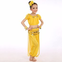 Wholesale Costumes For Students - Hot Sale Belly Dance Suit For Girl Blue Red Purple Yellow Tops+Pant Schoolgirl Children Student Exam Competitive Costumes Q4014