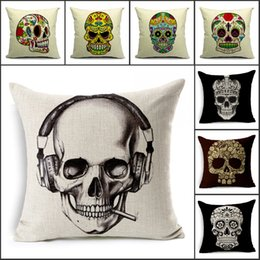 Wholesale Office Sofa Designs - Wholesale Skeleton head Linen pillow cover Cushion cover SKULL pillowcases for office car home decorate sofa cushions 16 design E348L