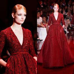 Wholesale Elie Saab Long Sleeves Dress - Gorgeous Elie Saab Red Noble Evening Dresses Celebrity Dresses Sequins Shining Deep V-neck Floor Length Long Sleeves Runway Formal Dress