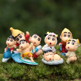 Wholesale Shin Chan Action Figure - 8designs set cartoon mini Crayon Shin Chan Toppers Doll PVC Action Figures Toy Fairy Garden Miniatures Resin Craft for Home Decor