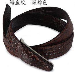 Wholesale Antique Solid Silver - New arrival Men Belts Top crocodile buckle antique Genuine Leather Black top alligator design free shipping