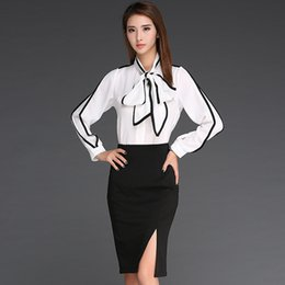 Wholesale Cheap White Long Sleeve Blouse - korean bow collar blouse long sleeve linen shirt womens cheap white business shirt elegant work shirts