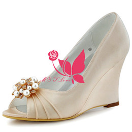 Wholesale Cheap Yellow Wedge Heels - Brand New Cheap Shoes Champagne Satin Wedges Bridal Pearls Shoes Peep Toe Wedding & Party Shoes WS0111 Customise Size 33 to 43