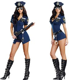Wholesale Sexy Policewoman Costume - Sexy Women Lady Policewoman Cosplay Costume Bar Nightclub Stage Performance Uniform Halloween Masquerade Party Dress Supplies