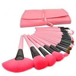 Pennelli trucco professionale da 24 pezzi Set di pennelli per ombretti cosmetici rosa di tendenza da spazzole di trucco giallo fornitori