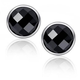 Wholesale Mens Round Earrings - 1Pair Fashion Mens Womens Round Earrings Black Agate Silver Ear Earrings Unisex Jewelry