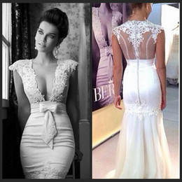 Wholesale Sexy Low Cut White Dress - Berta 2015 Gorgeous Style Mermaid Bridal Gown Sheer Low Cut V Neck Tulle Beaded Appliques Lace Mermaid Wedding Dresses