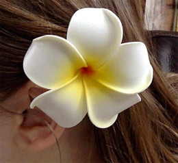 Fleurs blanches hawaïennes en Ligne-Pince à cheveux -50pc / lot Filles de Nuolux Hawaiian Plumeria Foam Fleur en épingle à cheveux DIY bricolage PE frangipanier en épingle à cheveux White Yellow