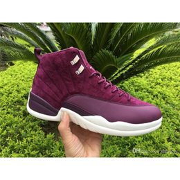 Wholesale Men S Real Leather - Air Retro 12 Bordeaux Men Basketball Shoes Men's 12'S Sneakers Real Carbon Fiber Gren Purple Shoes Size US7-13 With Original box