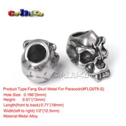 Wholesale Metal Beads Caps - Wholesale-10pcs Skull Beads Charm Metal For Paracord Bracelet Knife Lanyards Jewelry Making Accessories #FLQ077 78 79 80-S,FLQ183 184-S