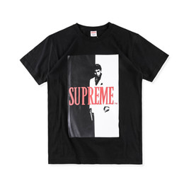 Wholesale Mens Xl Wool Shirt - 2017 Autumn And Winter new 17FW Scarface Split Tee Mens t-shirt black Gray White S-XL SD04