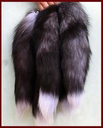 Wholesale Genuine Fox Tail Keychain - Genuine White  Red  Silver Fox Tail Keychain Fur Tassel Bag Tag Charm,keyring