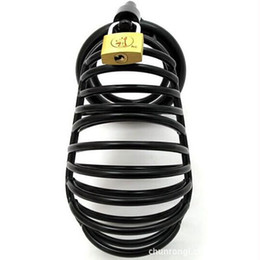 Wholesale Stainless Steel Male Chastity Large - Large Male Black Metal Stainless Steel Chastity Device Cock Cage, Penis Bondage Chastity Belt With 3 Size Rings