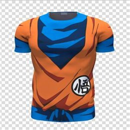 Wholesale Goku Costumes - Wholesale-2016 New Anime Dragonball Z Son Goku Cosplay Summer Short Sleeve t - shirts compression Tops the Tee shirts Costume in Summer