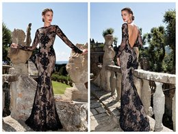 Wholesale Long Sleeve Prom Dreses - 2015 Black Lace Evening Dreses Scoop Illusion Long Sleeve Backless Sweep Train Beads Mermaid Prom Dress Tarik Ediz