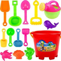 Wholesale Children Toys Shovel - Wholesale- 14 Pcs Children Summer Beach Toys Plastic Shovel Toy Sand Mold Hourglass Set Play Sand Toy Gift for Boys and Girls zk30