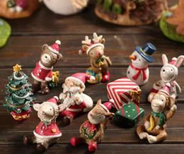 Wholesale Miniature Garden Christmas - Christmas Figure Toys Snowman Deer Sant Claus Christmas Tree Miniature figurine Decoration Garden Resin craft toy ornaments Gift