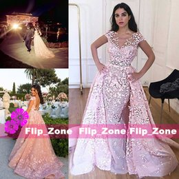 Wholesale India Size - Detachable Train 2015 Evening Dresses Short Sleeves Lace Removable Skirt Plus Size Dubai Arabic India Party Prom Celebrities Formal Gowns