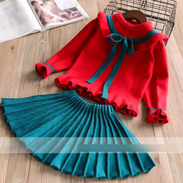 Wholesale Knit Skirt Suit - Christmas children outfits girls lace-up Bows falbala red knit sweater+green pleated skirt 2pcs sets Merry christmas kid princess suit R1034