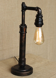 levou luz água lâmpada de mesa Desconto Lâmpada de Mesa de Água do vintage Edison Lâmpada Lâmpada Tubo De Ferro Retro Personalidade Criativa Loft Bar Cafe Lâmpada de Mesa