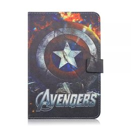 Wholesale Leather Shell Pouches - For Ipad Mini 1 2 3 tablet Cartoon Avengers 2 II TPU Leather Wallet Case Pouch Bag Stand Cover skin 1pcs