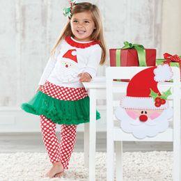Wholesale Santa Claus Suits For Women - clothe for girls Spring and Autumn season New pattern woman Child Santa Claus long sleeve A Gauze skirt pendulum circle point pantskirt Suit