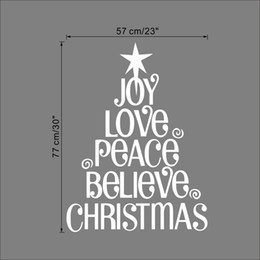 Wholesale Love Quote Wall Decals - Joy Love Peace Believe Christmas Christmas Tree Wall Quote Decal Sticker Festival Home Lettering Wallpaper Art Poster